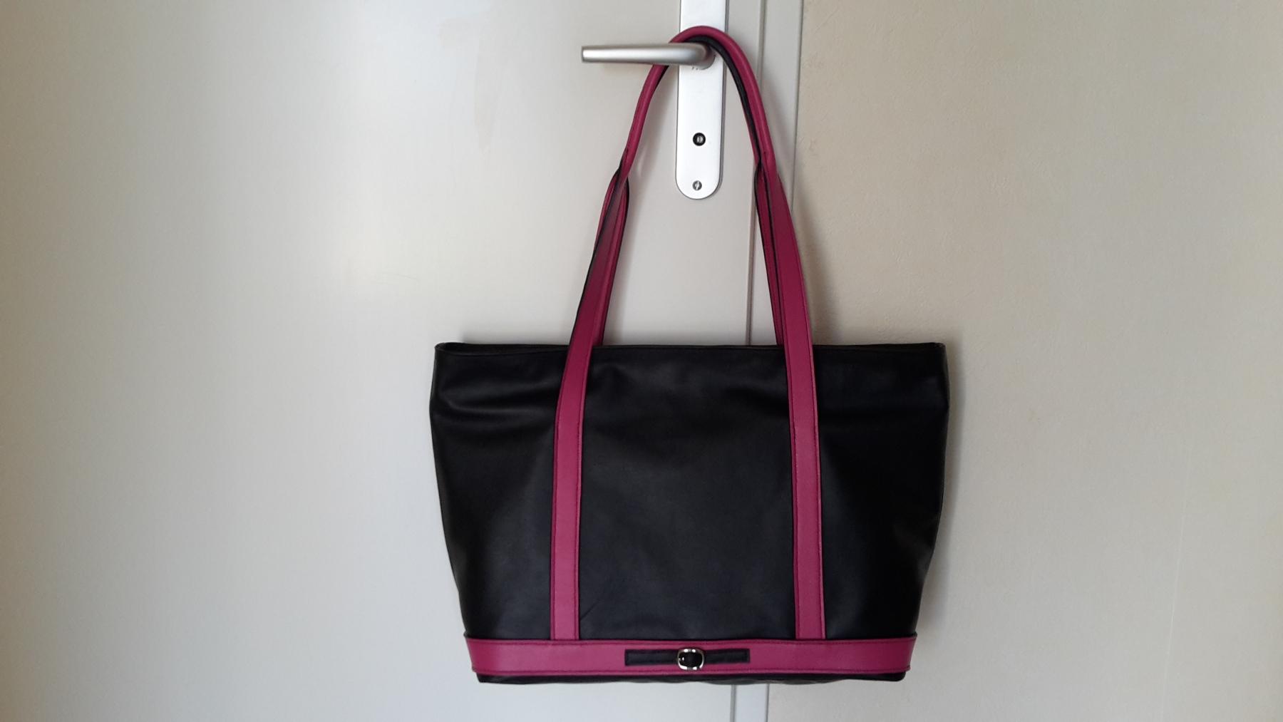 sac cabas noir - fuchsia 1